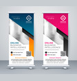 roll up banner layout template in geometric style vector image vector image