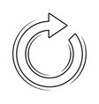 round arrow icon in black and white vector image