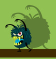 scary blue monster with shadow vector image vector image