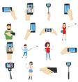 Selfie icons set cartoon style vector image vector image
