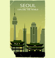 seoul city silhouette in old style vector image