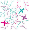 set airplanes flying with lines vector image