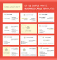set of 12 basket creative busienss card template vector image vector image