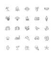 set of 25 hand drawing sketch icons summer themed vector image
