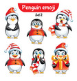 set of christmas penguin characters set 2 vector image