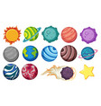 set of planets and star vector image vector image
