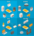 set of smart home rooms concept isometric vector image