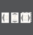set of three wedding invitation cards vector image