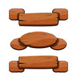 set with cartoon wooden ribbons for game assets vector image