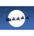 silhouette of flying santa and christmas reindeer vector image vector image