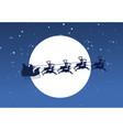 silhouette of flying santa and christmas reindeer vector image
