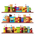 snack product set on shelves colorful fast vector image vector image