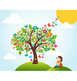 Spring time tree landscape vector image