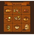 Tea color Icons Set on brown Background vector image