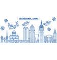 usa ohio cleveland winter city skyline merry vector image vector image