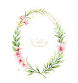 watercolor frame pink flowers and almond vector image vector image