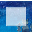 witch and cat under blue galaxy night sky banner vector image vector image
