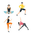 women dressed in sports clothes in flat cartoon vector image vector image