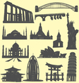 world landmarks silhouettes vector image vector image