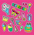 happy birthday party decoration stickers vector image