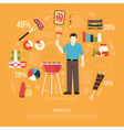 Barbecue Infographics Flat Layout vector image