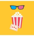 3D glasses big popcorn and ticket Cinema icon in vector image