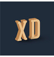 3d wood font character emoticon vector image vector image