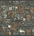 black and gold seamless pattern on a writers theme vector image vector image