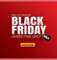 black friday sale banner with white text on red vector image vector image