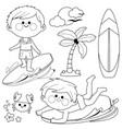 boys surfing in sea vector image