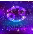cancer zodiac sign on a cosmic purple background vector image