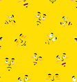 Cartoon faces seamless pattern Set of emotions on vector image vector image
