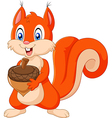Cartoon squirrel holding pinecone isolated vector image vector image