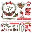 Christmas decor setSpruce branchespine cones vector image vector image