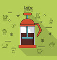 colorful poster of coffee shop with coffee maker vector image vector image