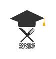 cooking school logo cooking academy vector image vector image