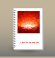 cover of diary polygonal hot red sunset pattern vector image vector image