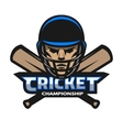 Cricket player and bats Sport logo vector image