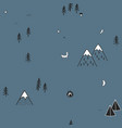 cute hand drawn seamless pattern with camping vector image vector image