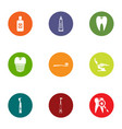 dental revamp icons set flat style vector image vector image