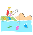 father and son fishing numbers vector image vector image