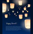 flyer or poster template with kongming lanterns vector image