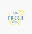fresh milk and cheese retro print effect card vector image vector image