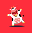 funny cow who is smiling and dancing vector image vector image