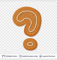 gingerbread question sign symbol with drop shadow vector image