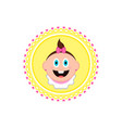 happy baby on a label vector image