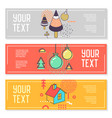 horizontal banners set memphis style vector image vector image