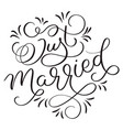 just married text with vintage decorative whorls vector image vector image