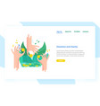 landing page template with hands holding coins and vector image