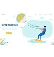 male character kitesurfing vector image